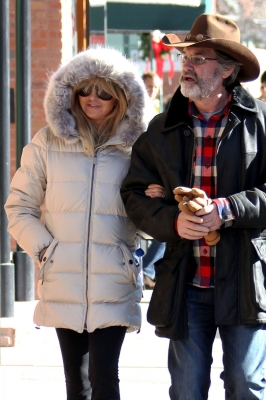 Goldie Hawn and Kurt Russell spotted out on a romantic stroll through Aspen on December 21, 2012