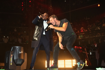 Jay-Z and Chris Martin of Coldplay perform together at Barclays Center on December 31, 2012 in Brooklyn, NY