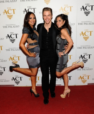 'DWTS' alums Cheryl Burke, Derek Hough and Kelly Monaco arrive at the New Year's Eve celebration at The Act at The Palazzo on December 31, 2012 in Las Vegas