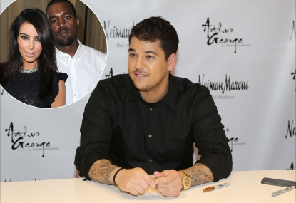 Rob Kardashian / inset: Kim Kardashian and Kanye West