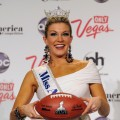 Miss America, Mallory Hytes Hagan, of New York, poses during a news conference after she was crowned during the 2013 Miss America Pageant at Planet Hollywood Resort & Casino, Las Vegas, on January 12, 2013