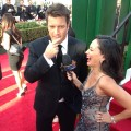 Nathan Fillion and AccessHollywood.com&#8217;s Laura Saltman at the 70th Annual Golden Globe Awards held at The Beverly Hilton Hotel on January 13, 2013
