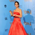 Jennifer Lawrence, winner of Best Performance by an Actress in a Motion Picture (Musical or Comedy) for 'The Silver Linings Playbook,'  poses in the press room during the 70th Annual Golden Globe Awards held at The Beverly Hilton Hotel in Beverly Hills, Calif., on January 13, 2013