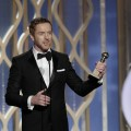Damian Lewis accepts the best actor award for TV Series, Drama, 'Homeland' on stage during the 70th Annual Golden Globe Awards at the Beverly Hilton Hotel International Ballroom on January 13, 2013