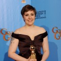 'Girls' star Lena Dunham poses with Best Actress in a TV Comedy Award in the press room during the 70th Annual Golden Globe Awards