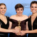 Zosia Mamet, Lena Dunham and Allison Williams pose in the press room at the 70th Annual Golden Globe Awards held at The Beverly Hilton Hotel on January 13, 2013 in Beverly Hills