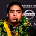 Manti Te&#8217;o of Notre Dame speaks during a press conference prior on December 8, 2012 in New York City
