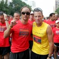 Matthew McConaughey & Lance Armstrong at the starting line for the Nike Human Race on August 31, 2008 in Austin, Texas