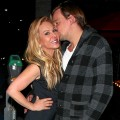 Newly single Adrienne Maloof is spotted leaving Crustacean restaurant with Sean Stewart, son of Rod Stewart, after dining out together on January 19, 2013
