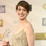 Anne Hathaway, winner of Best Supporting Actress for 'Les Miserables,' poses in the press room at the 18th Annual Critics' Choice Movie Awards held at Barker Hangar on January 10, 2013 in Santa Monica, Calif.