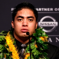 Manti Te'o of Notre Dame speaks during a press conference prior on December 8, 2012 in New York City