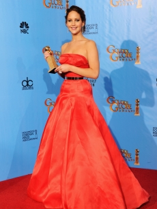 Jennifer Lawrence, winner of Best Performance by an Actress in a Motion Picture (Musical or Comedy) for &#8216;The Silver Linings Playbook,&#8217;  poses in the press room during the 70th Annual Golden Globe Awards held at The Beverly Hilton Hotel in Beverly Hills, Calif., on January 13, 2013