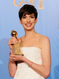 Anne Hathaway, winner of Best Supporting Actor in a Motion Picture for &#8216;Les Miserables,&#8217; poses in the press room during the 70th Annual Golden Globe Awards held at The Beverly Hilton Hotel in Beverly Hills, Calif., on January 13, 2013