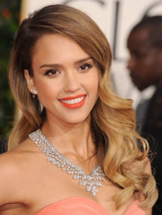 Jessica Alba arrives at the 70th Annual Golden Globe Awards at The Beverly Hilton Hotel on January 13, 2013