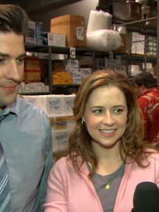 John Krasinski and Jenna Fischer on the set of 'The Office'