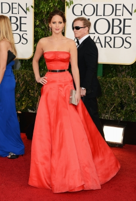 Jennifer Lawrence arrives at the 70th Annual Golden Globe Awards held at The Beverly Hilton Hotel on January 13, 2013 in Beverly Hills