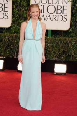 Jessica Chastain arrives at the 70th Annual Golden Globe Awards held at The Beverly Hilton Hotel on January 13, 2013 in Beverly Hills