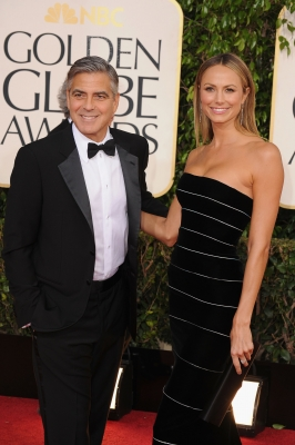 George Clooney and Stacy Keibler arrive at the 70th Annual Golden Globe Awards held at The Beverly Hilton Hotel on January 13, 2013
