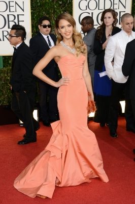 Jessica Alba arrives at the 70th Annual Golden Globe Awards held at The Beverly Hilton Hotel in Beverly Hills, Calif., on January 13, 2013