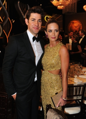 John Krasinski and Emily Blunt attend the 70th Annual Golden Globe Awards Cocktail Party held at The Beverly Hilton Hotel on January 13, 2013