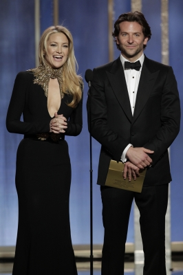 Kate Hudson and Bradley Cooper present on stage during the 70th Annual Golden Globe Awards at the Beverly Hilton Hotel International Ballroom on January 13, 2013