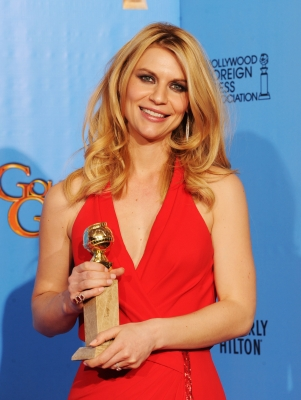 Claire Danes, winner of Best Best Actress in a Television Series (Drama) for 'Homeland,'poses in the press room during the 70th Annual Golden Globe Awards held at The Beverly Hilton Hotel in Beverly Hills, Calif., on January 13, 2013