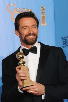 Hugh Jackman, winner of Best Actor in a Comedy or Musical, poses in the press room during the 70th Annual Golden Globe Awards held at The Beverly Hilton Hotel on January 13, 2013