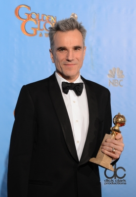 Daniel Day-Lewis poses in the press room with his Best Performance by an actor in a motion picture drama for 'Lincoln' award at the 70th Annual Golden Globe Awards held at The Beverly Hilton Hotel on January 13, 2013
