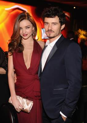 Miranda Kerr and actor Orlando Bloom attend the 2013 InStyle and Warner Bros. 70th Annual Golden Globe Awards Post-Party held at the Oasis Courtyard in The Beverly Hilton Hotel on January 13, 2013 in Beverly Hills