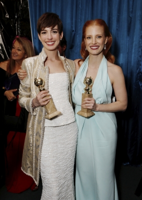 Anne Hathaway and Jessica Chastain at Focus/NBC/Universal Golden Globes Party at The Beverly Hilton Hotel on January 13, 2013 in Beverly Hills