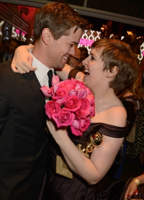 Andrew Rannells and Lena Dunham attend HBO's Official Golden Globe Awards After Party held at Circa 55 Restaurant at The Beverly Hilton Hotel on January 13, 2013 in Beverly Hills