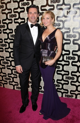 Jon Hamm and Jennifer Westfeldt attend HBO's Official Golden Globe Awards After Party held at Circa 55 Restaurant at The Beverly Hilton Hotel on January 13, 2013 in Beverly Hills