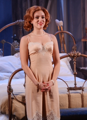 Scarlett Johansson attends the curtain call for the 'Cat On A Hot Tin Roof' opening night at Richard Rodgers Theatre on January 17, 2013 in New York City