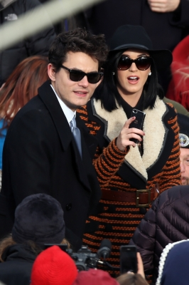 John Mayer and Katy Perry attend the presidential inauguration on the West Front of the U.S. Capitol January 21, 2013 in Washington, DC