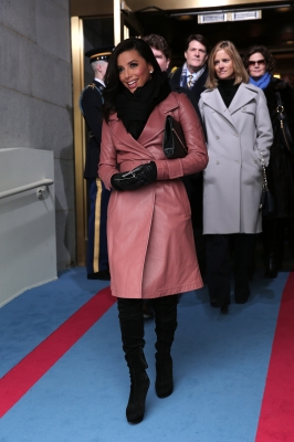 Eva Longoria arrives for the presidential inauguration on the West Front of the U.S. Capitol January 21, 2013 in Washington, DC