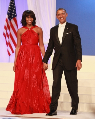 First Lady Michelle Obama and President Barack Obama attend the Inaugural Ball on January 21, 2013 in Washington, United States