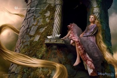 Taylor Swift seen as Rapunzel in a Disney Dream Portrait shot by Annie Leibovitz, 2013