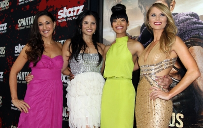 Jenna Lind, Katrina Law, Cynthia Addai-Robinson and Ellen Hollman hit the red carpet at the 'Spartacus: War of the Damned' premiere at Regal Cinemas in Los Angeles, January 22, 2013