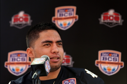 Manti Te'o #5 of the Notre Dame Fighting Irish speaks to the media during Media Day ahead of the Discover BCS National Championship at Sun Life Stadium on January 5, 2013