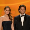 Jennifer Lawrence and Bradley Cooper onstage during the 19th Annual Screen Actors Guild Awards held at The Shrine Auditorium on January 27, 2013 (Photo by Getty Images)