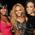 A Destiny's Child reunion! Kelly Rowland, Beyonce and Michelle Williams are all smiles during the 2011 Billboard Music Awards at the MGM Grand Garden Arena in Las Vegas May 22, 2011