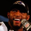Linebacker Ray Lewis #52 of the Baltimore Ravens addresses the media during Super Bowl XLVII Media Availability at the Hilton New Orleans Riverside on January 30, 2013 in New Orleans, Louisiana