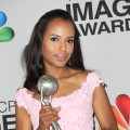 Kerry Washington, winner of Outstanding Actress in a Drama Series for &#8216;Scandal,&#8217; Outstanding Supporting Actress in a Motion Picture for &#8216;Django Unchained&#8217; and Honoree of the President&#8217;s Award, poses in the press room during the 44th NAACP Image Awards at The Shrine Auditorium on February 1, 2013 in Los Angeles (Photo by Getty Images) 