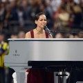 Alicia Keys performs The Star-Spangled Banner during the Pepsi Super Bowl XLVII Pregame Show at Mercedes-Benz Superdome on February 3, 2013 in New Orleans