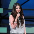 Selena Gomez addresses the crowd at the adidas NEO Label fall 2013 fashion show during Mercedes-Benz Fashion Week in New York City on February 6, 2013