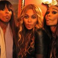 Kelly Rowland, Beyonce and Michelle Williams of Destiny&#8217;s Child pucker up for the camera