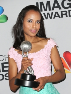 Kerry Washington, winner of Outstanding Actress in a Drama Series for 'Scandal,' Outstanding Supporting Actress in a Motion Picture for 'Django Unchained' and Honoree of the President's Award, poses in the press room during the 44th NAACP Image Awards at The Shrine Auditorium on February 1, 2013 in Los Angeles (Photo by Getty Images)