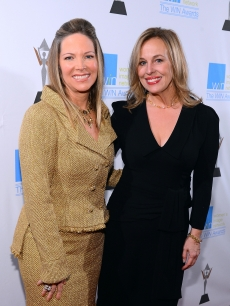 Humanitarian Award Honoree Maria Arena Bell and actress Genie Francis attends the 14th Annual Women's Image Network Awards at Paramount Theater on the Paramount Studios lot, Hollywood, on December 12, 2012