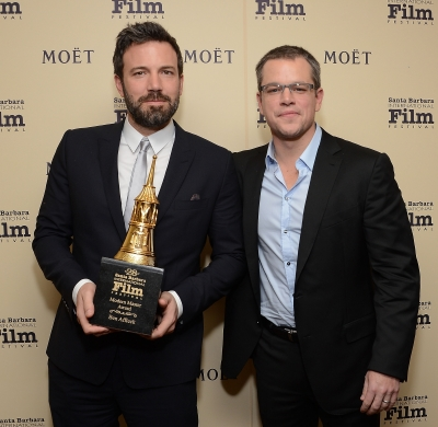 Ben Affleck and Matt Damon spotted at The Moet &amp; Chandon Lounge at The Santa Barbara International Film Festival in Santa Barbara, Calif., on January 25, 2013