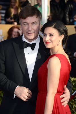Alec Baldwin and wife Hilaria Thomas arrive at the 19th Annual Screen Actors Guild Awards held at The Shrine Auditorium on January 27, 2013 in Los Angeles, California. (Photo by Getty Images) 